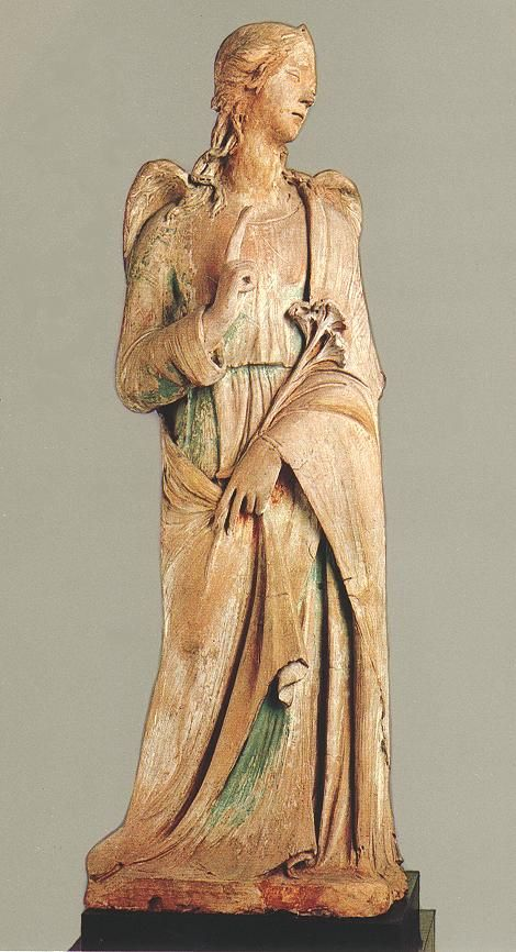 AGOSTINO DI DUCCIO Italian sculptor (b. 1418, Firenze, d. 1481, Perugia) The Angel Gabriel 1470s Terracotta with traces of paint, height 146 cm Szйpmыvйszeti Mъzeum, Budapest