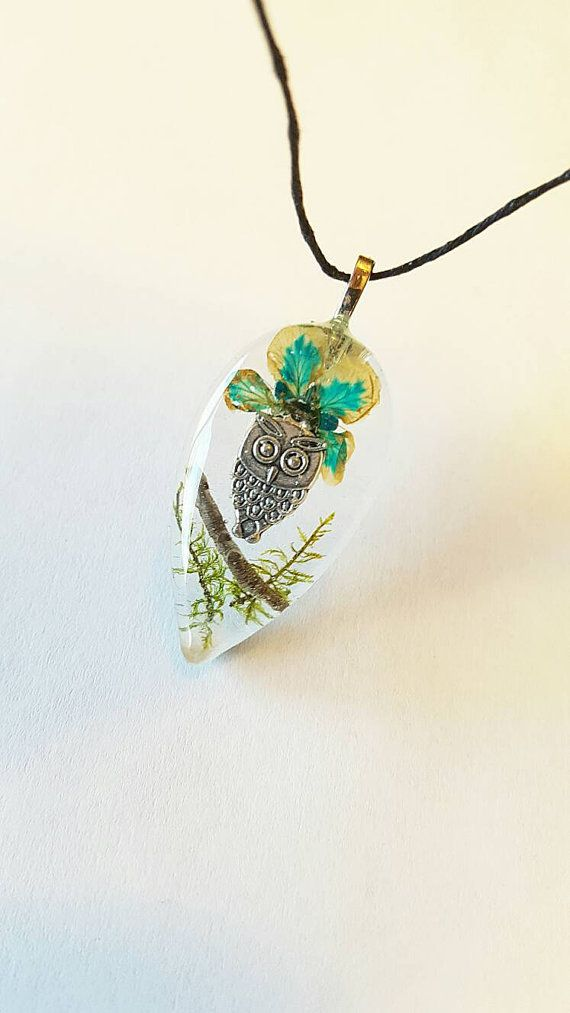 Owl Charm Real Blue Flower Green Moss Nature Necklace Resin Pendant Bohemian Jewelry PrismGypsy https://www.etsy.com/listing/481311790/owl-charm-real-blue-flower-green-moss