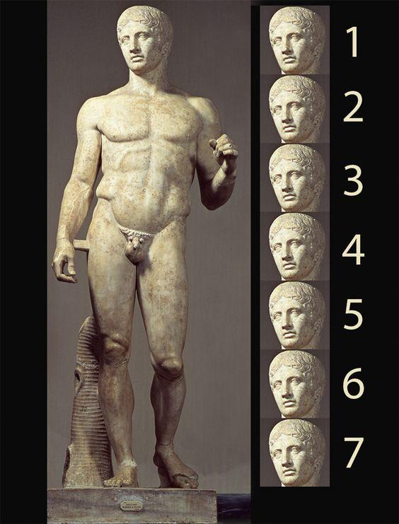 Doriforo di Policleto, I-II secolo a.C. Marmo. Museo Archeologico Nazionale di Napoli. Interessandosi alla bellezza del corpo umano, i greci tramite proporzioni matematiche stabilirono le misure per rappresentare un corpo perfetto. Nel Doriforo la testa, come unità di riferimento, è 1/7 del corpo.