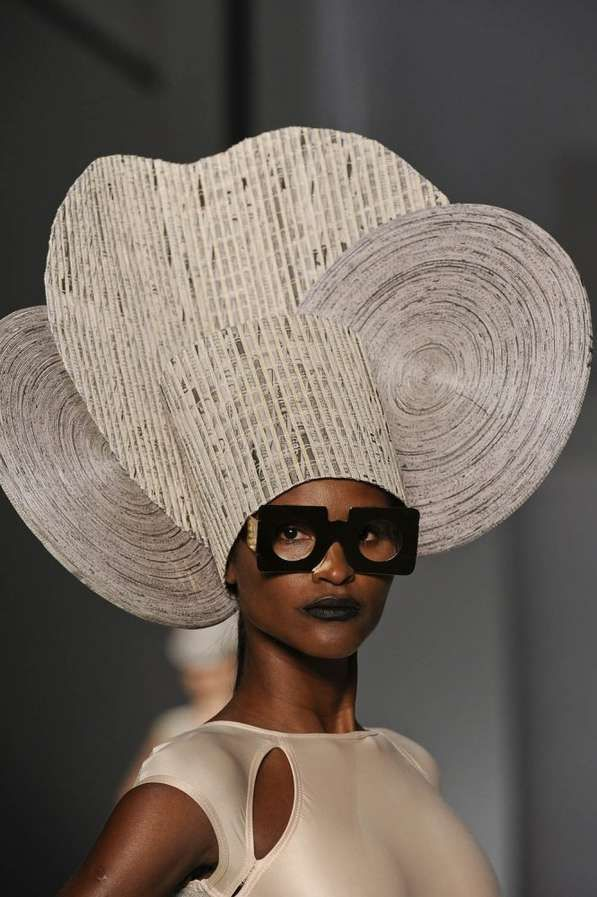 Design Student Project Fashion Accessories - Head wear, Protection Inspiration Armour and African Culture, Suggested Materials, Metal, Hair and Paper .