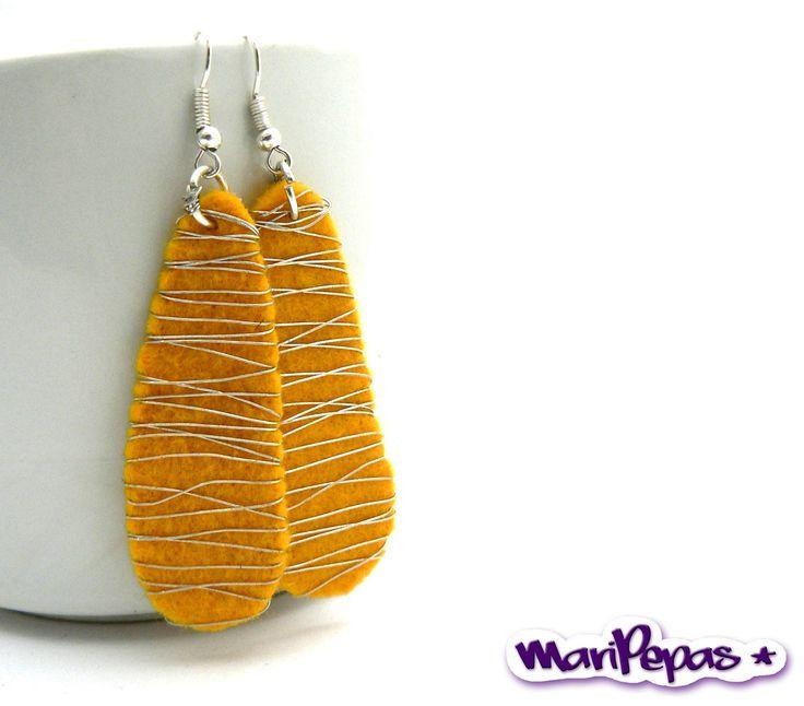 simple Wire Jewellery | Felt jewellery. Autum earrings. Yellow earring felt by MariPepas
