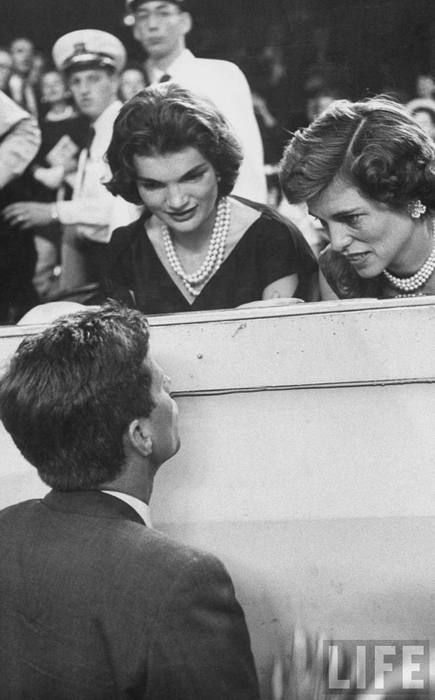 "JFK Speaks to His Wife, Jackie & His Sister, Eunice Kennedy Shriver, In Their Box At the 1956 Democratic Convention.  Jack Always Said, ""Had Eunice Been A Man, I Would Have Never Been President As It Was SHE Who Was Born For The Job...Not Myself...""...Two Great Women!!"