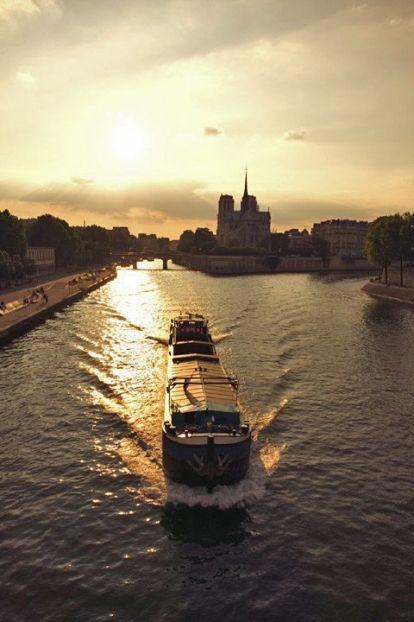 Bateau Mouche sur la Seine de nuit