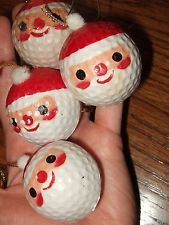 lot 4 vintage santa face golf ball christmas ornaments plastic golfball retro