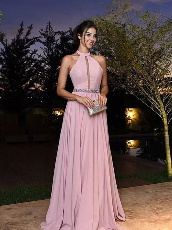Chic Prom Dresses Floor-length Sparkly Halter Prom Dress Simple ...