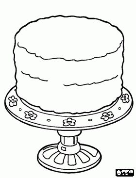 Birthday cake to decorate. Celebration cake coloring page