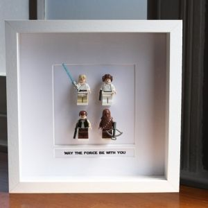 Star Wars Lego Figures Framed in a Shadow Box Source:   http://folksy.com/items/2430033-Star-Wars-Lego-Mini-Figures-Millennium-Falcon-Crew-Framed-May-the-force-be-with-you-?shop=yes