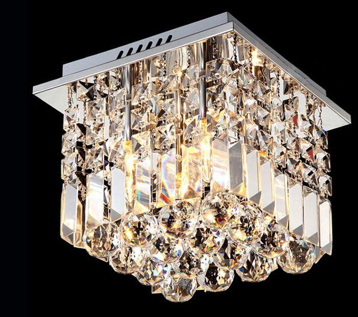 Modern LED Crystal Chandeliers Square Ceiling Lights Aisle Light Fixtures Lights