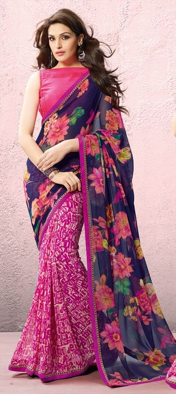 135456, Printed Sarees, Georgette, Patch, Lace, Printed, Multicolor Color Family