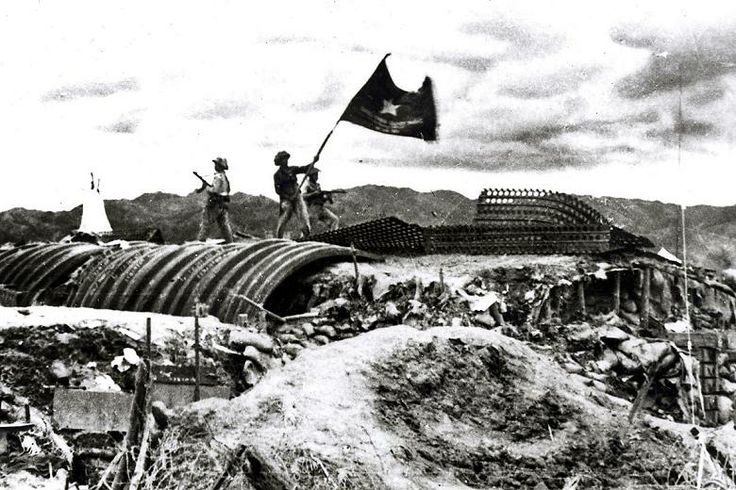 Viet Minh troops after capturing a French position during the First Indochina War.
