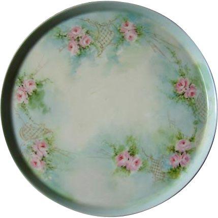 Tressemann Vogt Limoges Charger Plate Pink Roses Gold Antique Porcelain Buy now at Victorian Rose Prints on rubylane.com