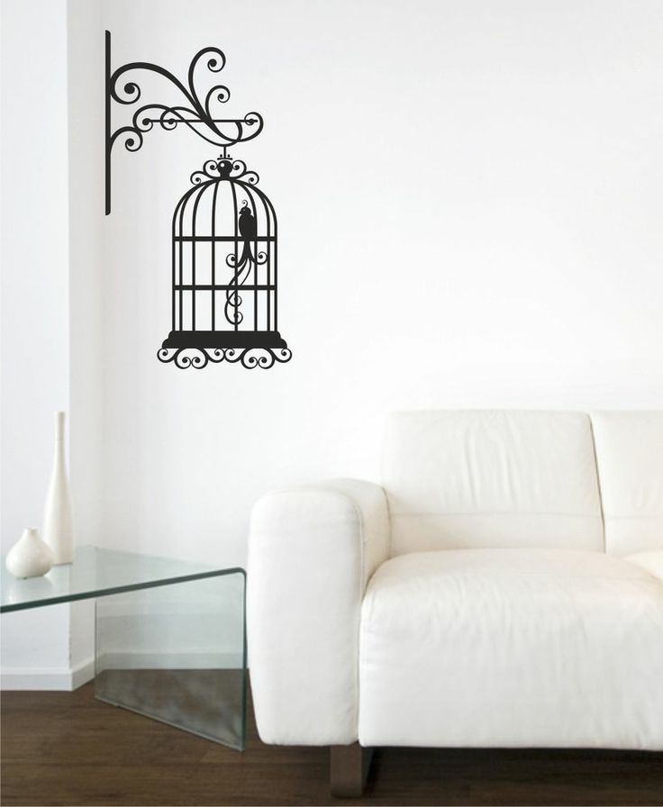VINTAGE BIRDCAGE WALL ART STICKER - KITCHEN LOUNGE DINING ROOM  DECAL