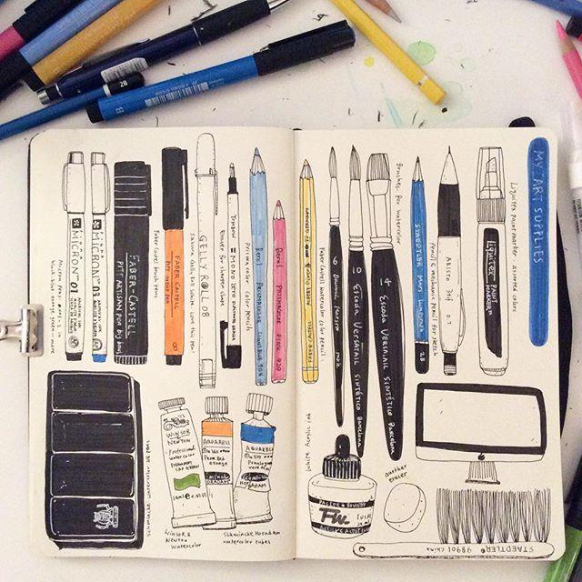 Heegyum Kim: My Art Supplies morning... #drawing #doodle #moleskine #sketchbook…