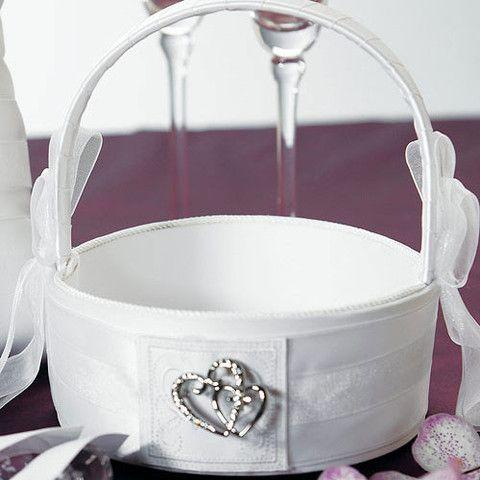 Classic Double Heart Flower Girl Basket