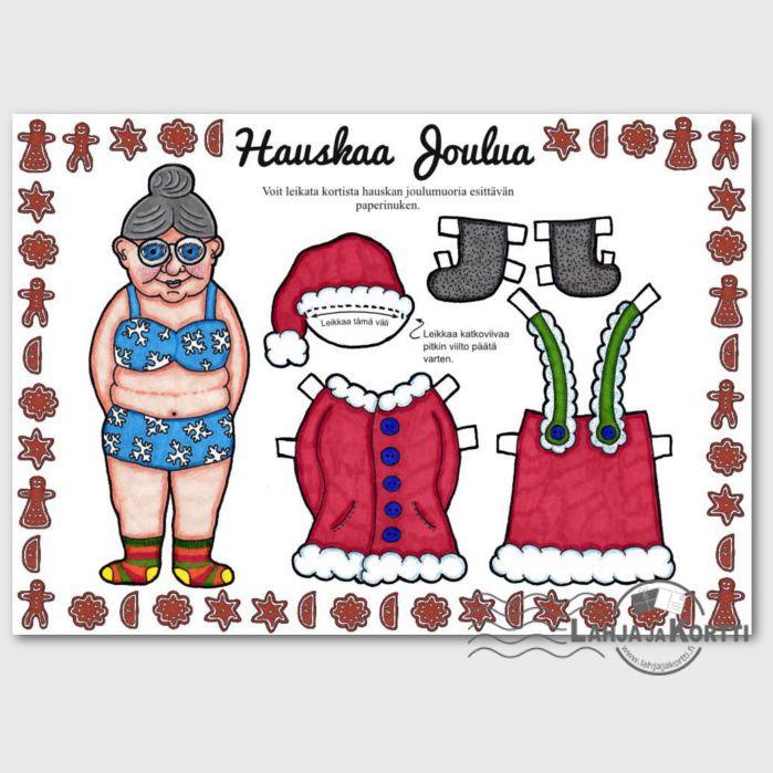 Tästä joulukortista syntyy Joulumuori-paperinukke, jolla leikkiessä joulu tulee kuin leikiten.