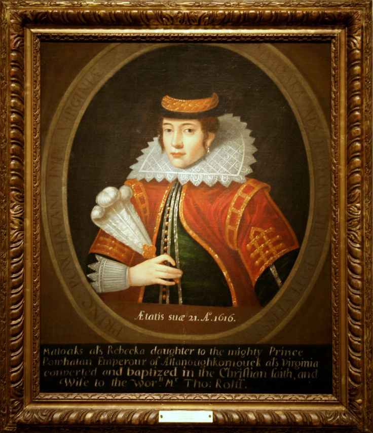 Historic portrait of the real Pocahontas in London, age 21, dressed as the Christian lady she had become. She died within months. This portrait hangs in the National Portrait Gallery of the Smithsonian, in Washington, D.C.. This painting is a later copy of an engraving made during her London visit of 1616.