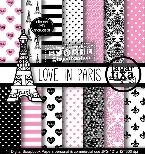 Paris France Digital Paper Eiffel Tower Pink Black White Polka dots Stripes Damask Lace Liz Flower Background Blog Invitations scrapbooking