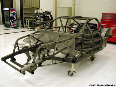The frame of a NASCAR race car before the body is installed