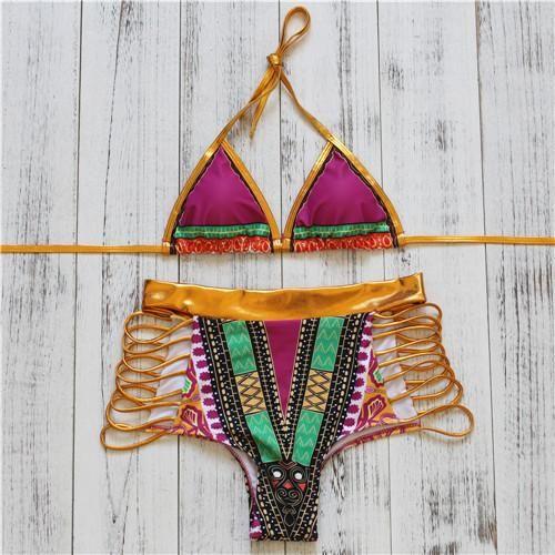 Sexy Gold High Waist Bikini Hollow Out Bandage Swimsuit Cut Out Bikini Set Sexy Swimwear Bathing Suit Bikini