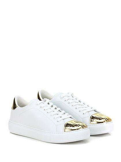 Pinko - Sneakers - Donna - Sneaker in pelle e pelle specchiata con suola in gomma, tacco 35. - BIANCO\ORO - € 195.00