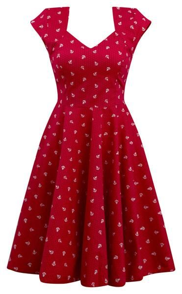 2ba47ca55f04 This red and white anchor print with tiny polka dots dress Pinup, retro,  rockabilly style. Fitted waistline with added stretch in back accommodates  any ...