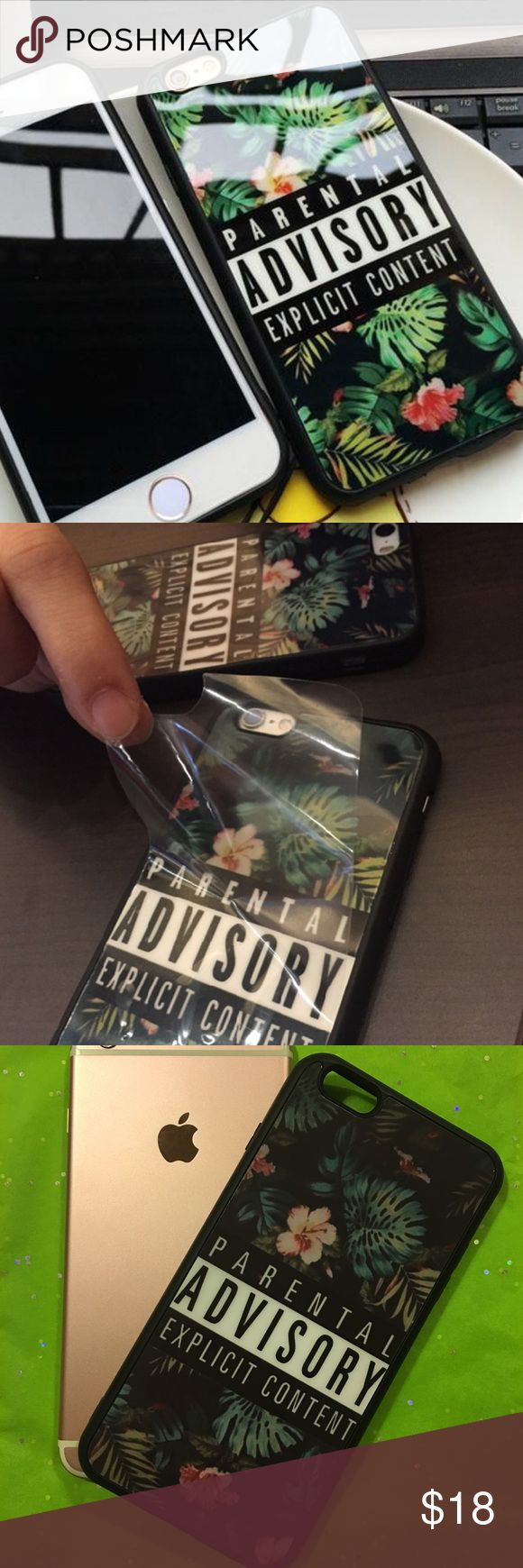 """*NEW* Awesome iPhone 6+/ 6s+ case  Soft silicone glossy phone case, really cool, featuring tropical floral art and fun """"Parental Advisory"""" graphics. Fits iPhone 6+/ 6s+ New in factory package  Accessories Phone Cases"""