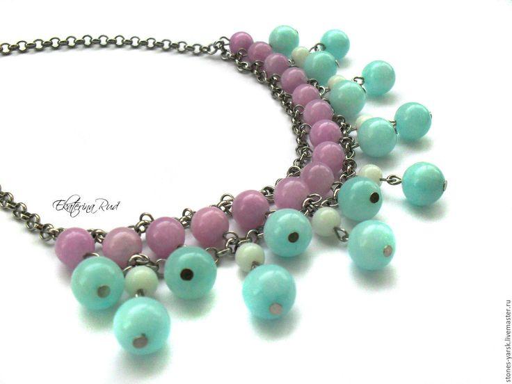 """Купить Колье на цепочке """"Сиреневые облака"""" сиреневое, голубое - Ожерелье из камней, Ожерелье ручной работы"""
