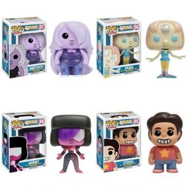 This Steven Universe Vinyl Pop figure set includes Steven, Garnet, Amethyst, and Pearl. Collect them all with one quick purchase!