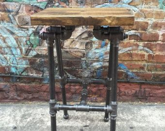 Bar Stool Industrial Stool Work Stool Pipe by TheCleverRaven