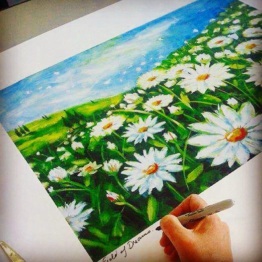 Signing prints for customers #artistic #landscapes #daisies