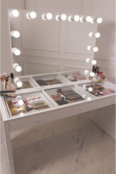 Custom Hollywood Glamour Vanity Station: Lighted Mirror w/ Built-In Outlet and 3-Drawer Table w/ Glass Table Top – More Colors Available