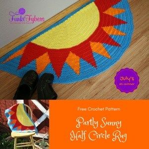 free crochet pattern half circle sun rug