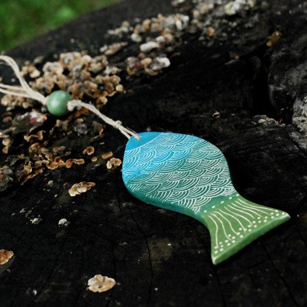 Ceramic fish decoration, home and garden by Brekszer on Etsy