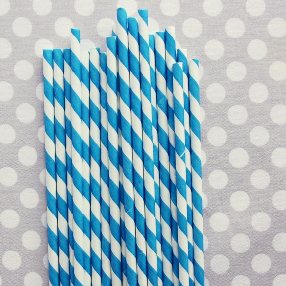 Striped Paper Straws: Blue