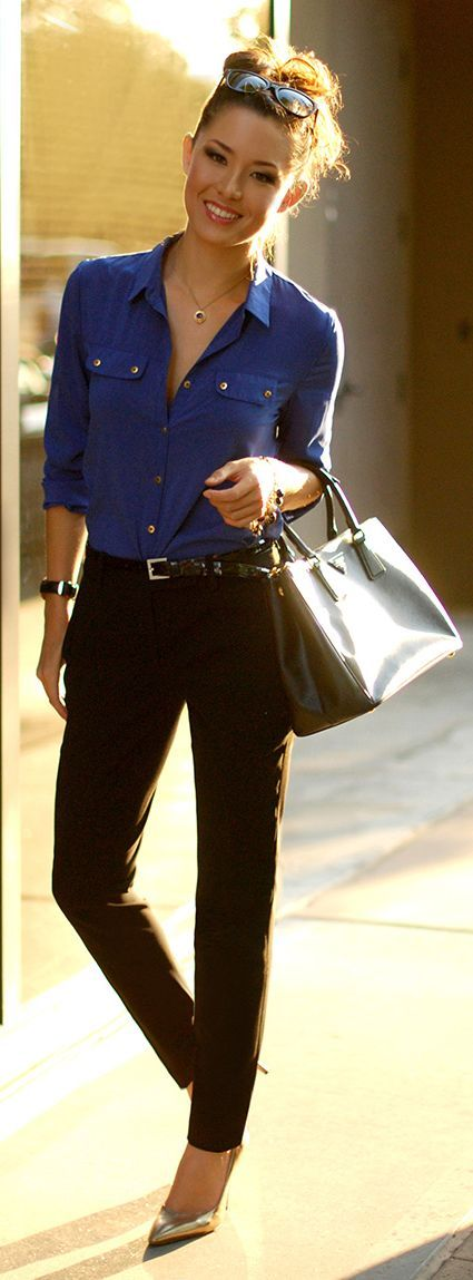 Fall / Winter - Spring / Summer - street chic style - office wear - business casual - work outfit - black pants + black and gold belt + metallic stilettos + cobalt blue shirt + black handbag + black sunglasses