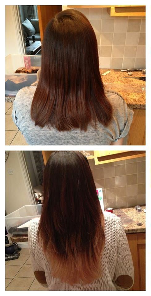 Ombré hair extensions before and after