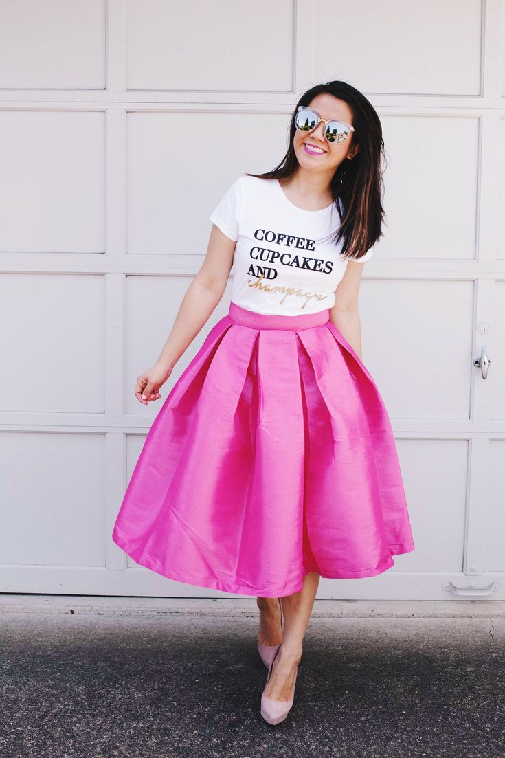 Coffee, Cupcakes and Champagne T-shirt - Cute way to style a graphic t-shirt