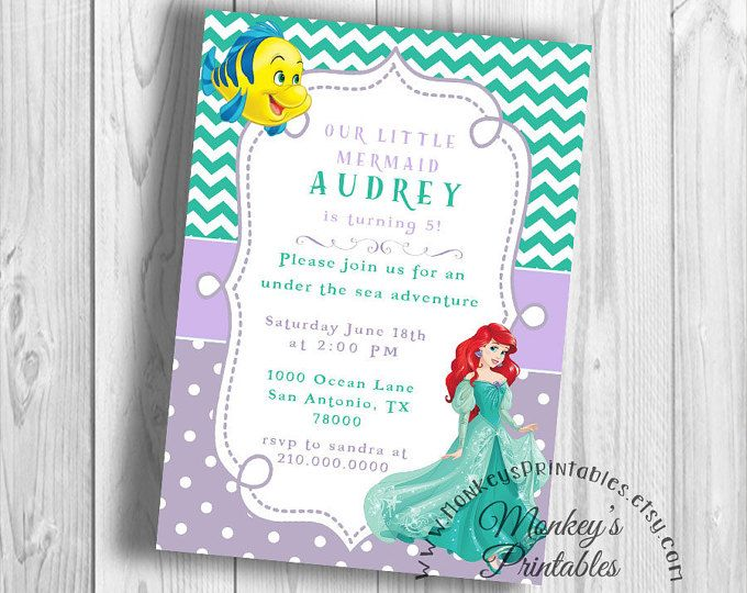 Fiesta de cumpleaños de Ariel princesa, invitación fiesta de cumpleaños de Sirenita, Little Mermaid cumpleaños imprimible fiesta invitación