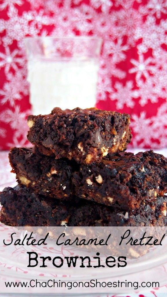 Five Delicious Christmas Cookie Recipes to Fill Your Freezer - Salted Caramel Pretzel Brownies - yum!