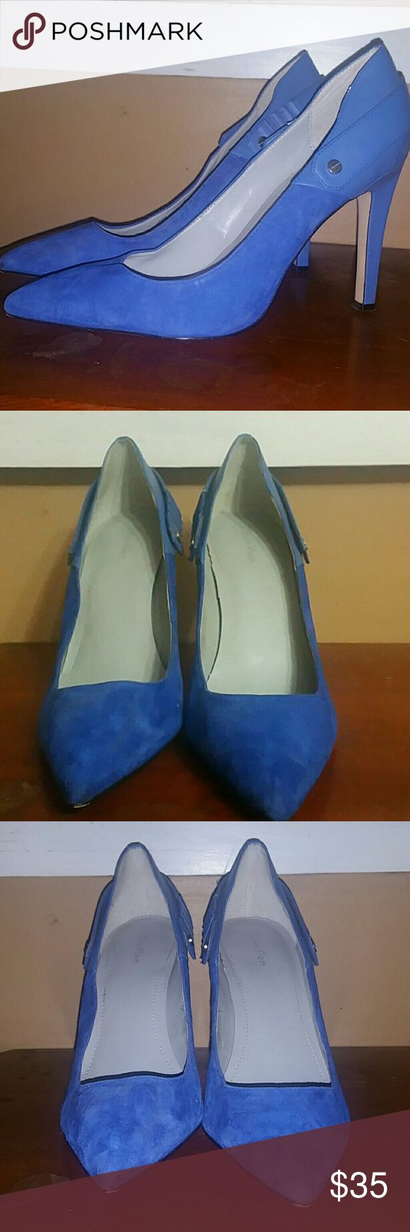 "💥REDUCED💥Calvin Klein Blues Suede Pumps Blue Suede Calvin Klein Pumps. True to size. 4"" Heels. Perfect heels to wear to the office or add a hint of color to your outfit of the day. Chic and classic pumps. Calvin Klein Shoes Heels"