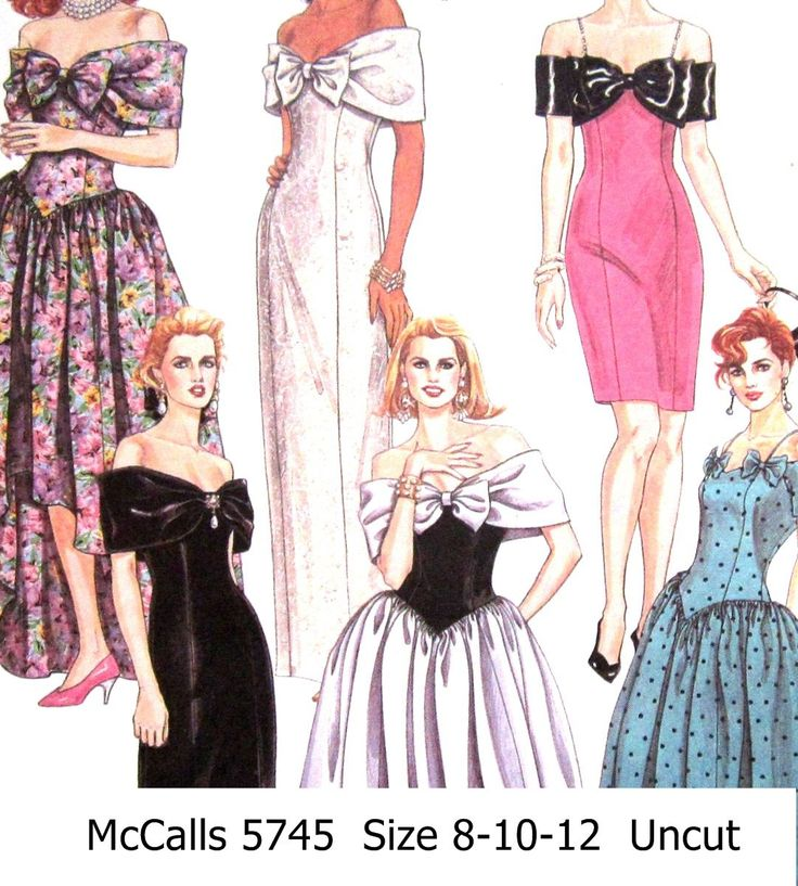 Mccall's+5745+Sewing+Pattern+Uncut+Misses+Evening+Gowns+Bridesmade+Dresses+Size+8+10+12