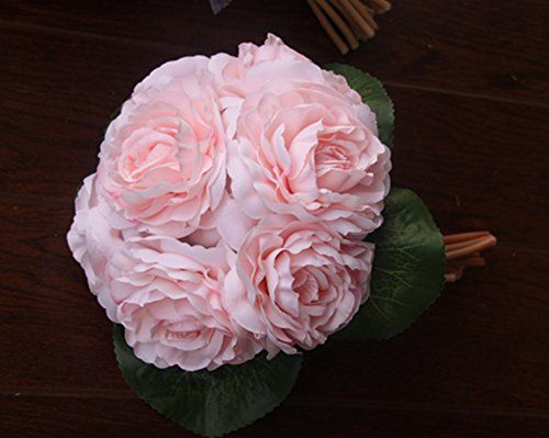 Bridess Artificial Camellia Flower Bouquet Bride Bridesmaid Holding Flowers For Home Hotel Office Wedding Party Garden Craft Art Decor Pink -- Click image for more details.