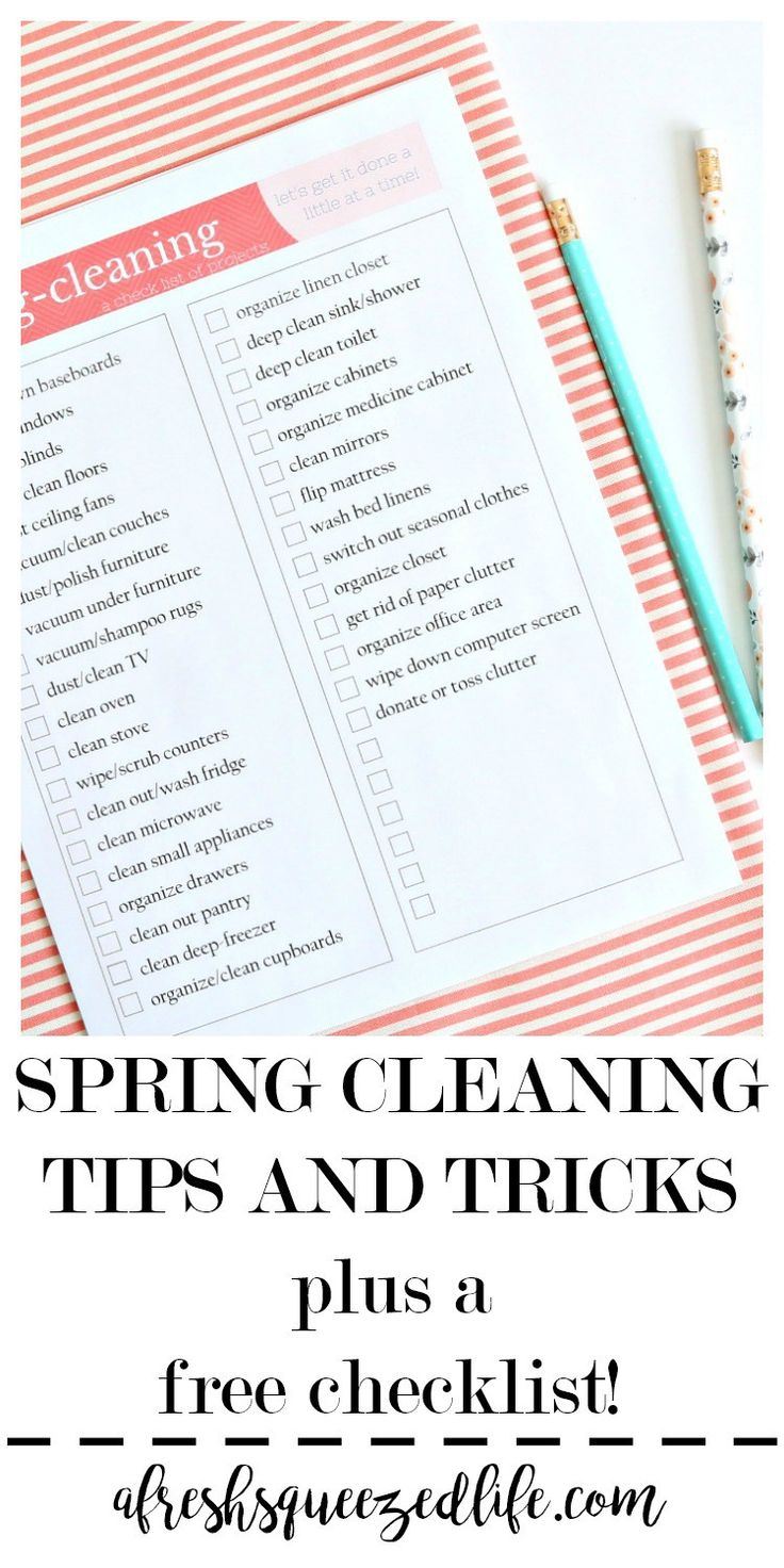 Spring Cleaning time is here! Start in your bedroom and move through your home with a checklist, tools, and tips. You will be done before you know it! SPRING CLEANING CHECKLIST AND TIPS