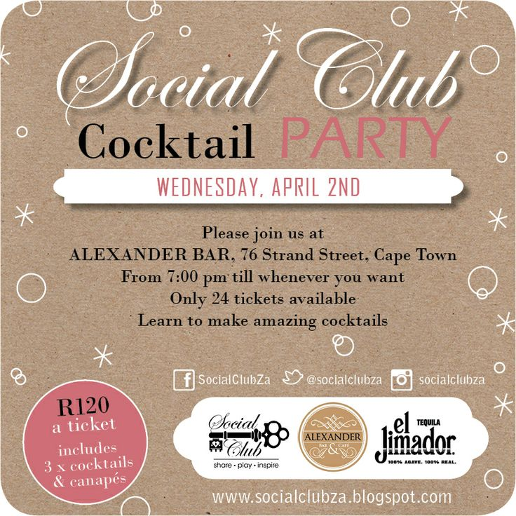Invite to the first Social Club event of 2014. #cocktailparty #socialclub