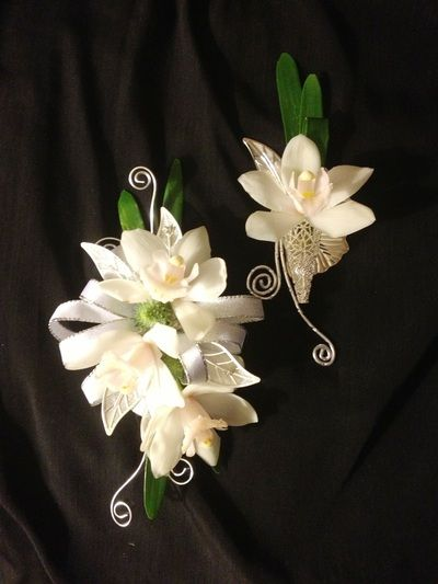 White orchid corsage & boutonniere pair Prom-Flowers Designer Spotlight series featuring Dov E. Kupfer AIFD CFD