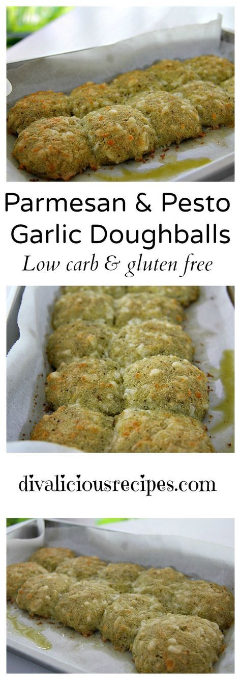 Low carb and gluten free doughballs made with coconut flour and flavoured with Parmesan cheese and pesto. A great appetizer or a snack. Or perhaps breakfast. I won't judge. We've all been there!