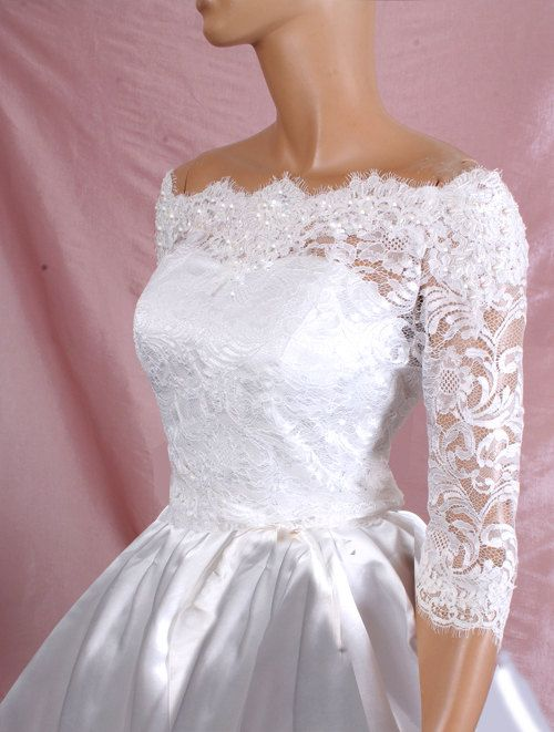 Plus size lace bridal off shoulder lace wedding jacket for Wedding dress jackets plus size