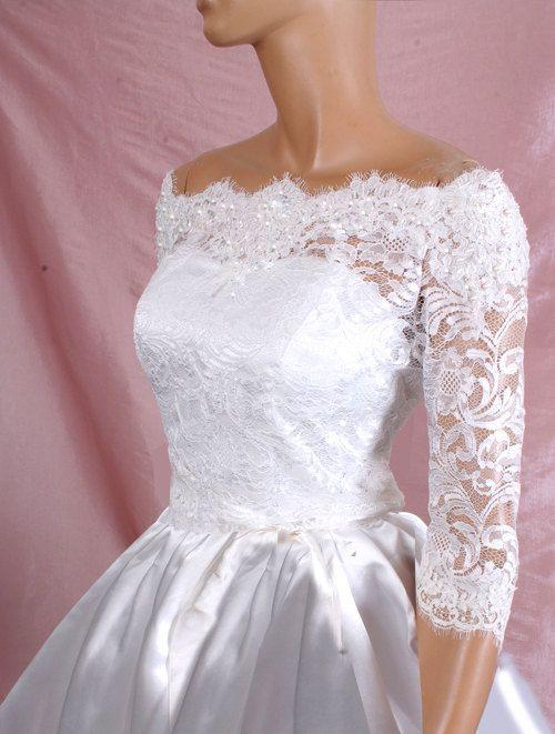 Plus size lace bridal off shoulder lace wedding jacket for Lace jackets for wedding dresses