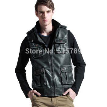 Grátis frete 2014 nova moda masculina Slim homens Vest coletes de couro Pu bolso do colete masculino colete Mens Jacket 3306 4