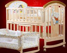Европейский Стиль Сосновый Лес Детская Кровать Нет Краска Многофункциональный Ребенка кроватки Новорожденного Колыбели Детские Манеж Кроватки с 5 ШТ. Костюм C01(China (Mainland))